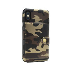 Camouflage Shockproof Wallet Case Card Slots Flip Cover For iPhone And Samsung