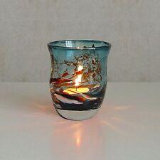 Windlicht Glas Dekoration Teelicht Aquablau mit buntem unikatem Motiv