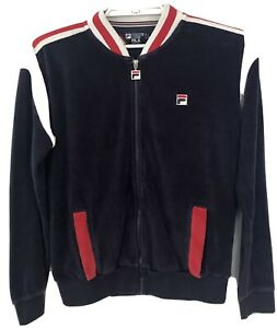 FILA White Line Men's Tracksuit Track Top Jacket S Small Blue White Red Cotton