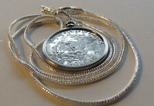"1979 Susan B Anthony Mirror Pendant on a 24"" 18k White Gold Filled Chain 2mm"