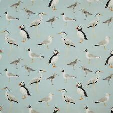 iLiv Seabirds Aqua  Puffin Curtain Upholstery Craft Designer Cotton Fabric