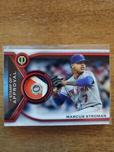 2021 Topps Tribute Marcus Stroman Red GU Stamp Of Approval Patch #6/10 SSP- Mets