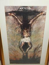 JESUS SUR CROIX /PASTEL  SUR PAPIER /SIGNEE KAREL DEKANDELAERE 1982/ENCADRE