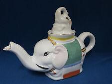 Lucky Asian Elephants Tea Pot Teapot Ceramic Figural Trunk Up Animal Collectible