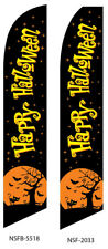 TWO Happy Halloween (black)15 foot Swooper Feather Flag Sign