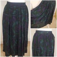 True Vintage 70s Aztec Style Boho Hippie Blue Purple Pure New Wool Midi Skirt 10