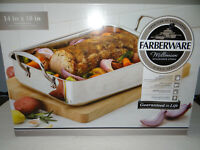 "Farberware Roasting Pan 14"" x 10"" Stainless Steel Dishwasher Safe"