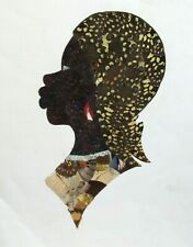 REAL BUTTERFLY WINGS AFRICAN WOMAN PAINTING UNSIGNED
