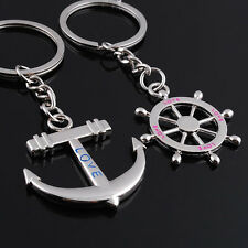 New Fashion Navy Style Rudder Anchor Couple Lover Key Chain Creative Gifts Pair