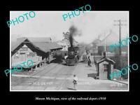 OLD POSTCARD SIZE PHOTO OF MASON MICHIGAN THE RAILROAD DEPOT STATION c1910