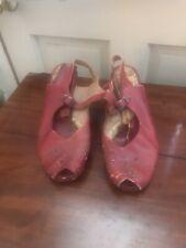 Vintage 1930's-40's Red Ladies Peep Toe Shoes