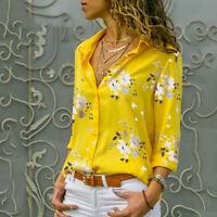 Fashion Women Flower Pattern Tops Blouse Long Sleeve V Neck Losse Shirt Q