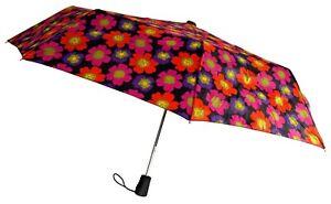 "Totes Automatic Umbrella 42"" Flower Auto Open Rain Sun Travel Compact Mini Folds"