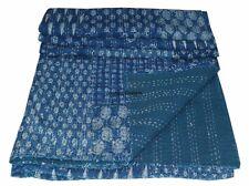 Blue Indigo Patchwork Kantha Quilt Bedspread Kantha bed Cover Kantha Bedding