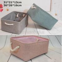 Storage Bin Basket Box Linen Fabric Organizer Drawer Container Household