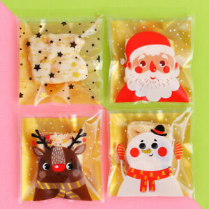 100x Christmas Cookie Bag Cello Cellophane Party Candy Biscuit Gift Bag for Kids