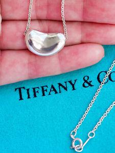 Tiffany & Co Sterling Silver Solid Chain Elsa Peretti 18mm Bean Pendant Necklace
