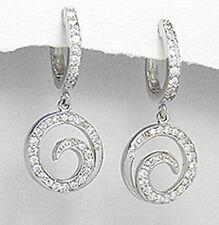 30mm Solid Sterling Silver Swirl Huggie Dangle Earrings 4.6g SPARKLING