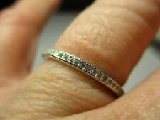 STERLING SILVER 925 ROUND 2MM CUBIC ZIRCONIA ETERNITY ACCENT BAND RING SIZE 5