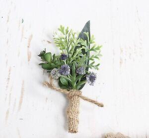 Rustic Natural Artificial Boutonniere Green Burlap Yellow Wedding Flower