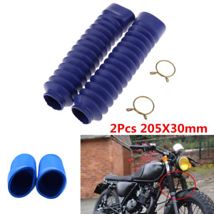 2Pcs Blue Motorcycle Front Rubber Gaiter Boots Fork Shock Absorber Dust Cover