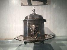 Antique  Brass Lion Paw Jardiniere Cache Pot Centerpiece Claridge Silver plated