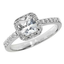 Ring, Size N (7430) * Sterling Silver Cubic Zirconia Princess Cluster