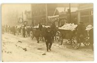 RPPC Horse Drawn Wagons Hauling Ice DENVER CO Colorado Real Photo Postcard
