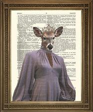 "DINNER PARTY DOE: Vintage Evening Dress Deer, Fun Dictionary Art Print (10x8"")"