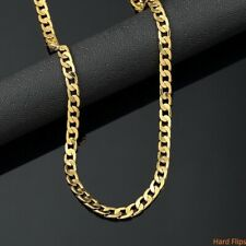 Mens 14k Yellow Gold Plated 24in Cuban Chain Necklace 4mm