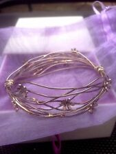 Linda Macdonald Sterling Silver Scribbles Flower Bracelet Bangle Boxed