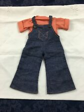 "Vintage Doll Clothes 2 Piece Fisher Price Overalls Pants and Shirt 15-16"" Doll"