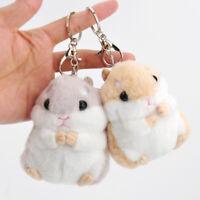 Cute Plush Furry Hamster Keychain Keyring Women Handbag Charm Pendant Decor
