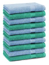 Lot de 10 serviettes débarbouillettes Premium: vert émeraude & bleu clair