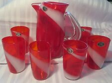 EXQUISITE VINTAGE FUKUOKA JAPAN MULTI-GLASS  CO. WATER PITCHER WITH SIX GLASSES
