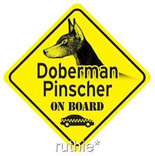 Doberman Pinscher On Board Dog Window Sign Made in Usa