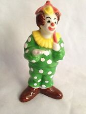 """Humor 4 1/2"""" Clown Green Dotted Suit Figurine - Marked Japan"""
