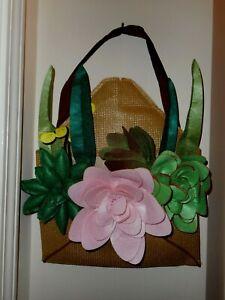"Polyburlap  ""Envelope""  of Succulents Door Décor - 15 x 1 x 17 Inches"