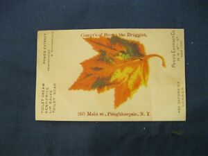 Victorian Trade Card Brown the Druggst  Poughkeepsie NY Ponds Extract Leaf 4A