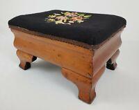 Antique Empire Needlepoint Foot Stool Ottoman Mahogany Wood Straw Fill Vintage