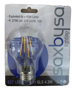 Saxby Non-Dimmable 4.3W GLS Filament LED Light Bulb Lamp E27