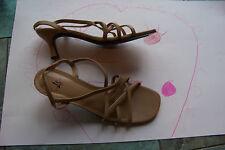 womens lifestride brown cross strap heels shoes size 9