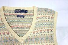 Polo Ralph Lauren Sweater Vest MENS LARGE Hand Knit Fair Isle LINEN COTTON VNECK