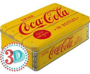 Storage Coca Cola Logo Yellow from Metal, 9 1/8in Hoard Box, Gift Container