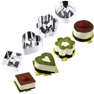 Stainless Steel 3D Mini Cake Molds Pastry Tool Baking Molds with Pusher USA