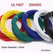20AWG Flaxible Stranded Electronic Wire UL1007 PVC Cable O.D 1.8mm 12-Colors