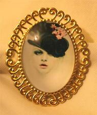 Delightful Swirled Rim Silvertone Classy Lady with Top Hat & Flowers Brooch Pin