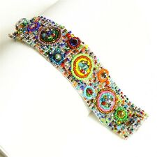 BR313150 Nine Circles Multicolor Crystal Magnet Bracelet Cuff Fair Trade Artisan