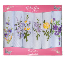 Box of 6 Ladies White/Colour Embroidered Handkerchiefs