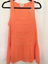 BELAIR French Fashion Boutique 100% Silk Melon Pink Sleeveless Peplum Sz S 4 T1